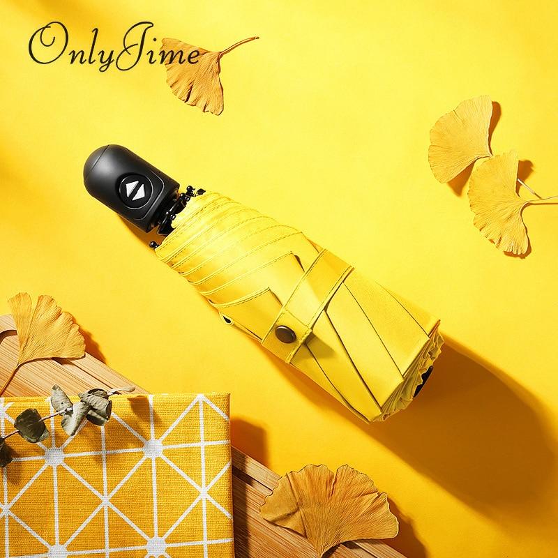 Seul Jime couleur unie Simple plat Ultra léger double usage Mini parasol noir revêtement automatique cinq pliage couleur unie