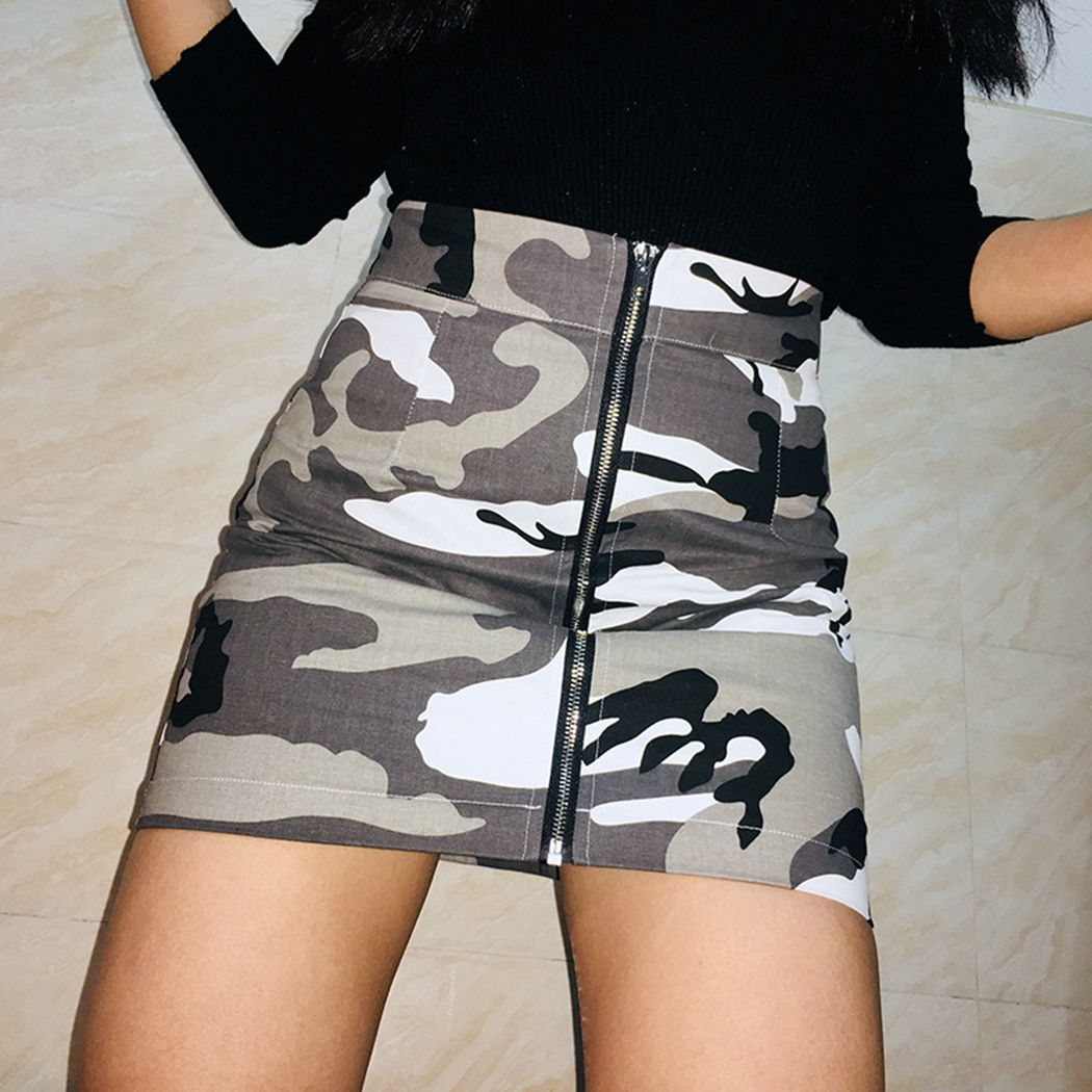 9e835aef1874d Sexy Camouflage Mini Skirt Women Zipper High Waist Print Short Skirts  Fashion Ladies Camo Package Hip Slim A Line Skirt Jupe-in Skirts from Women's  Clothing ...