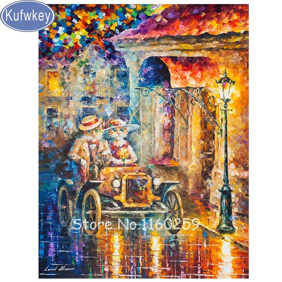 Direct Selling Europe Resin Square Diy Diamond Painting Cross Stitch Mosaic Embroidery Cats Couple car Cityscape Painting