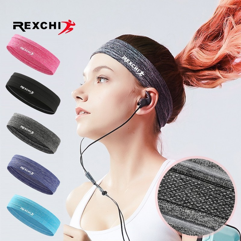 REXCHI Elastic Sweatband Sports Gym Headband Anti-Slip Women Men Breathable Basketball Fitness Yoga Volleyball Cycling Hair Band 目