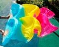 Handmade wholesale custom Pengiriman gratis 100% nyata sutra 1.8 M kerudung fan, Warna putih aksesoris Bellydance