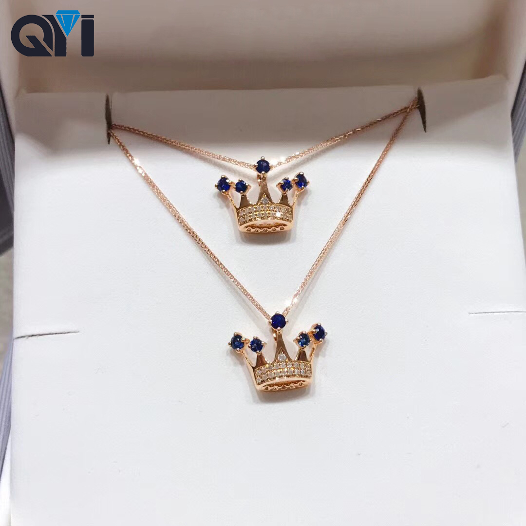 QYI 100%18k Gold Sapphire Crown Pendant Diamond Necklace Natural Gemstone Jewelry Fashion Lady Gift