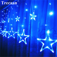 Lights Lighting - Holiday Lighting -  Trecaan LED Window Curtain Lights Stare 2.5M 12 Star String Fariy Lights 8 Modes Xmas Home Holiday Party Wedding Decoration