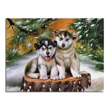 Zwei schönen hund 40X30 Diamant stickerei Diy diamantbohrer quadratrhinestone klebte Handwerk Hand home dekoration