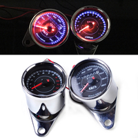 DWCX New Universal Chrome LED 13000 RPM Tachometer + Dual Speedometer Odometer Gauge Meter Motorcycle for Honda Yamaha Suzuki