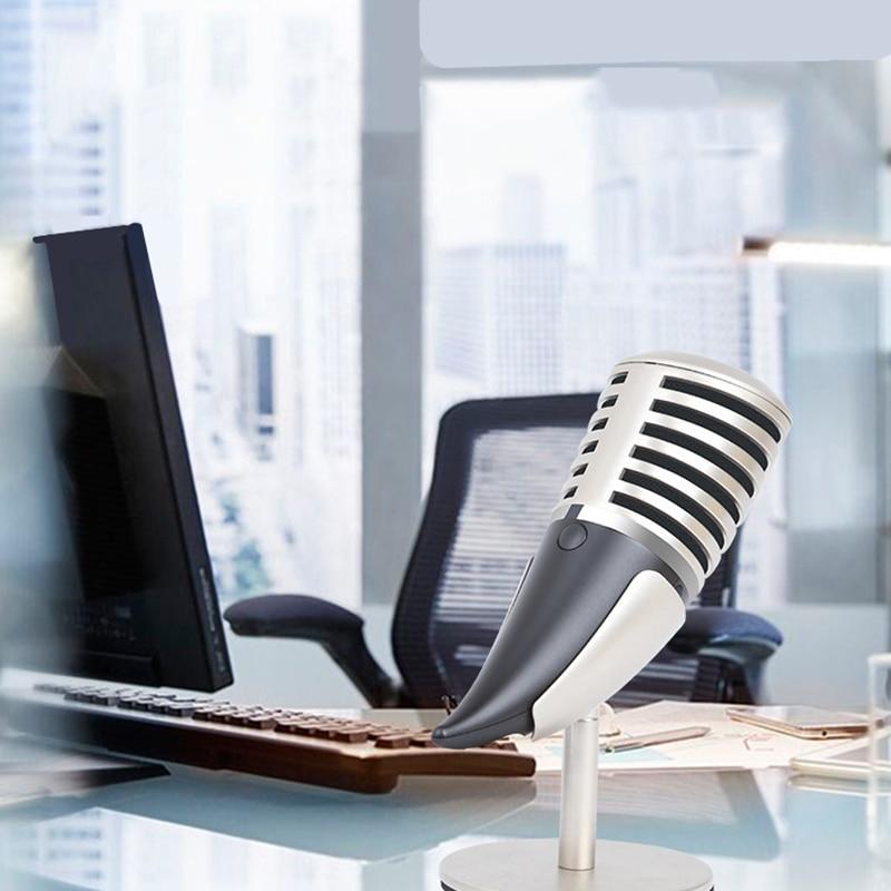 Компьютерные игры Металл Микрофон видеочат 3.5 мм USB конденсата конденсаторный микрофон с Подставки держатель для телефона pc