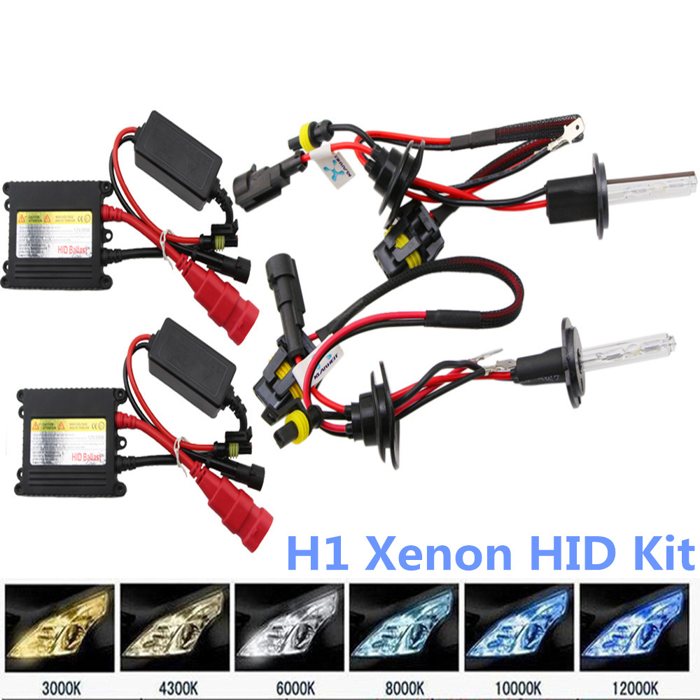 H1 35w 12v HID Xenon Kit HID Bulb Light Kit 4300K 6000K 10000K Low and Hi Beam Parking Light Fog Light Headlight 1 Pair For Ford hid xenon bulbs replacement h1 35w 12v 4300k 6000k 10000k parking light fog light headlight car light 1 pair octavia for ford