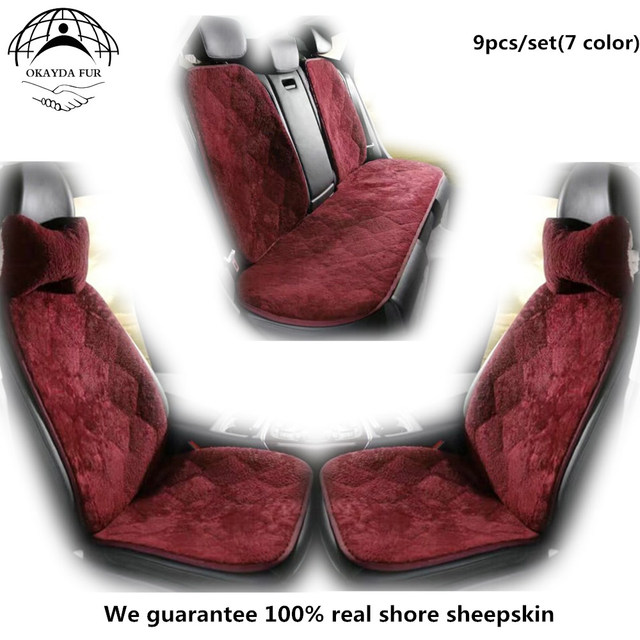 OKAYDA 7pcs/set SHEEPSKIN CAR SEAT COVER Short Frizzled Wool Cushion Car  Style Automotive Interior