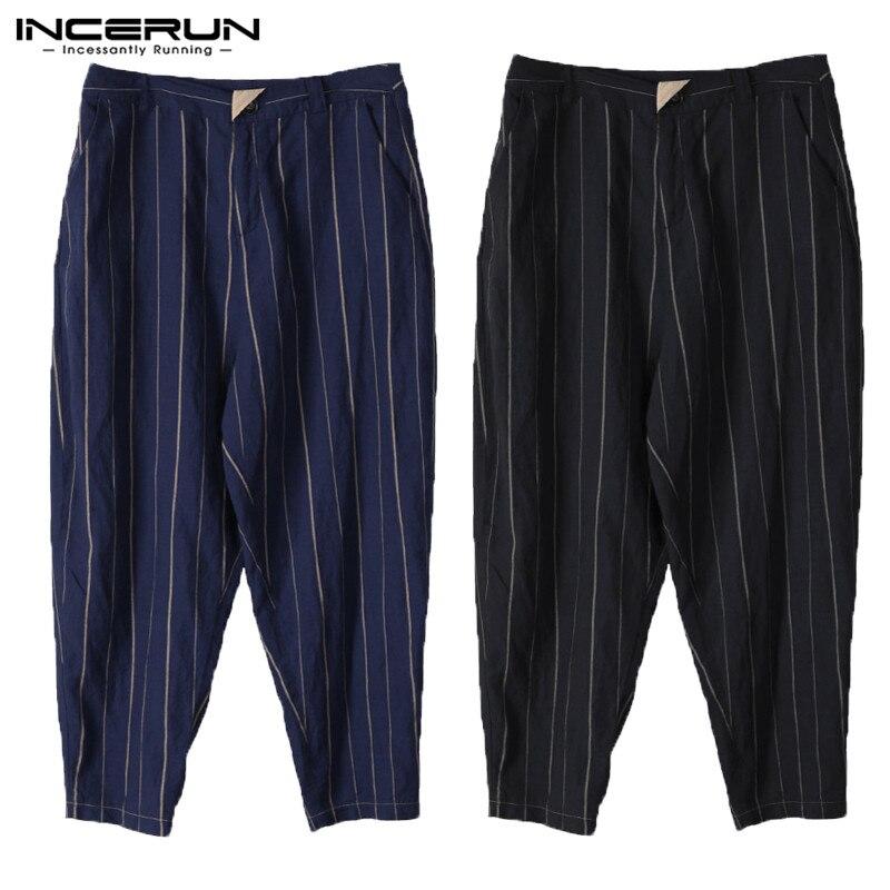 Loose Plus Size S-5XL Casual Pants Harem Hiphop Ankle-Length Men Stripe Pockets Straight Pants Wide Legs Trousers Plain INCERUN