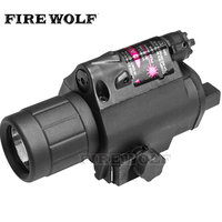 FIRE WOLF 2in1 Combo Tactical CREE Q5 LED Flashlight LIGHT 200LM RED Laser Sight For Pistol