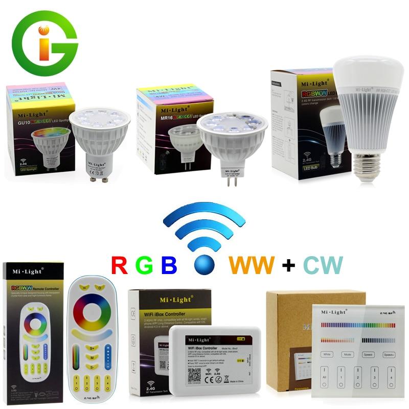 Mi-Light Full Color LED Bulb LED Spotlight GU10 MR16 4W E27 8W RGB+CW+WW Remote Control Smart Lighting