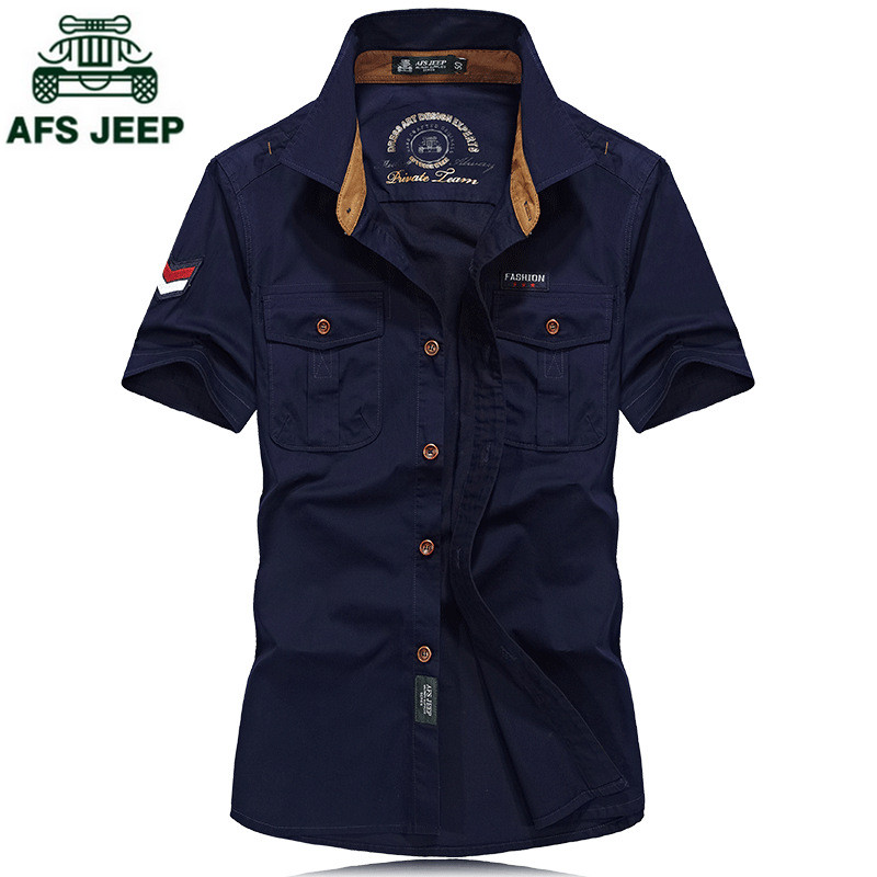 AFS JEEP Top Quality 100% Cotton Loose Men's Shirt Summer Military Casual Mens shirts Short sleeve Solid Color Dress