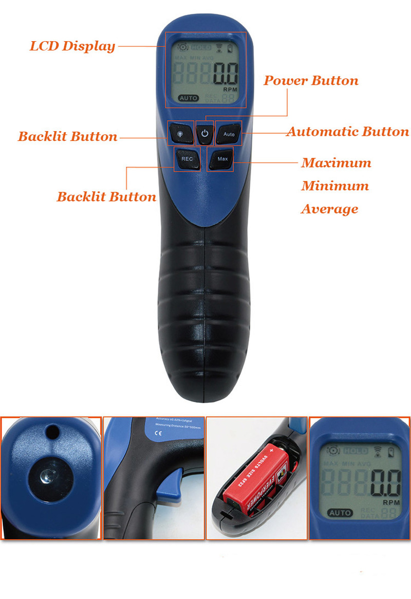 New 2 5 99999 Laser LCD Digital Tachometer High Quality Household Industrial Tachometer for Electric Motors Hand Tools in Frequency Meters from Tools