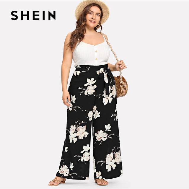 SHEIN Plus Size Black Belted Floral Print Wide Leg Pants 2019 Women Spring Summer Boho Knot Long Loose Trousers With Sashes 3
