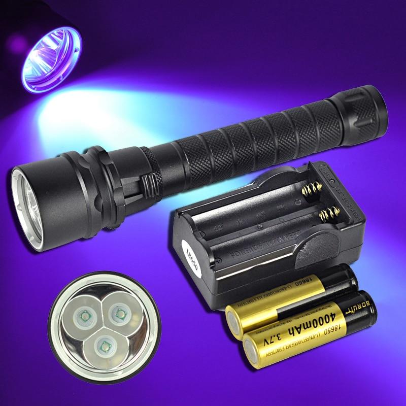 ФОТО 10W Lantern UV LED Torch Scuba Diving Flashlight 395-400nm Underwater Waterproof Diver LED Flash Light + 18650 Battery Charger