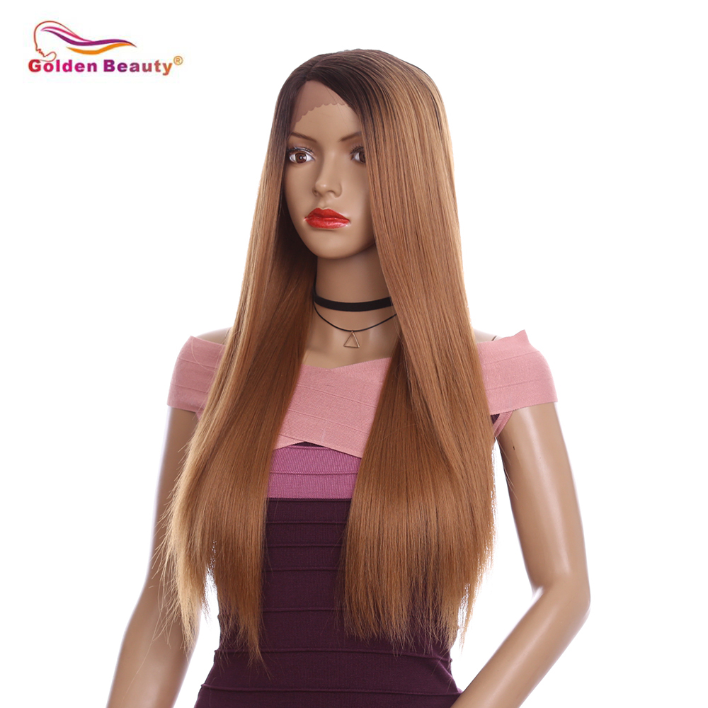 Natural Looking Synthetic Wig Half Hand Tied Long Straight Lace Front Wigs for Black Women Heat Resistant Golden Beauty