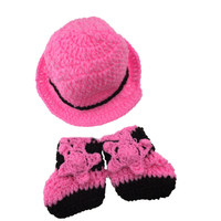 Cute Girl Crochet Baby Cowboy Cap And Boots Set Handmade Knitted Baby Hat And Booties Kids