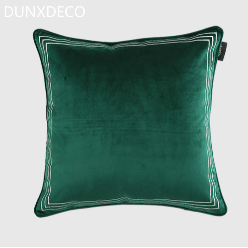 DUNXDECO Cushion Cover Decorative Pillow Case Modern Elegant Dark Inspiration Dark Green Decorative Pillows