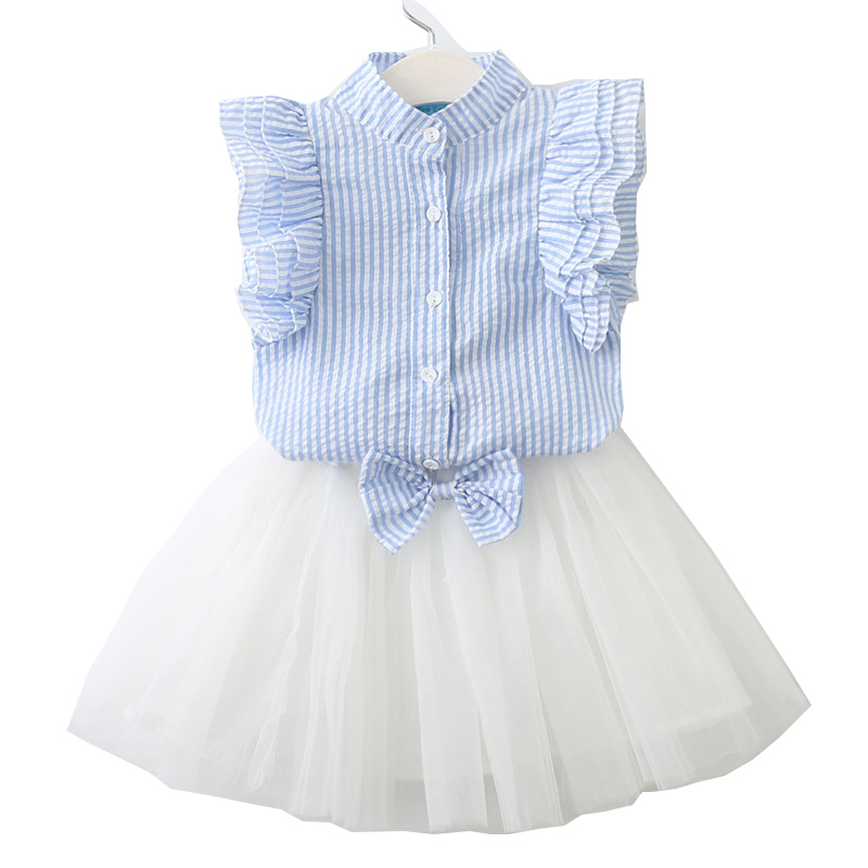 Kids Toddler Baby Girls Clothing Set Summer Puff Sleeve Striped T shirt And Tutu Skirt Set Tracksuit Suit Clothes New 2018 41 2pcs children outfit clothes kids baby girl off shoulder cotton ruffled sleeve tops striped t shirt blue denim jeans sunsuit set