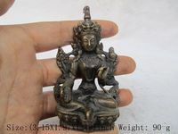 Ancient China Old Tibetan brass statue of avalokitesvara