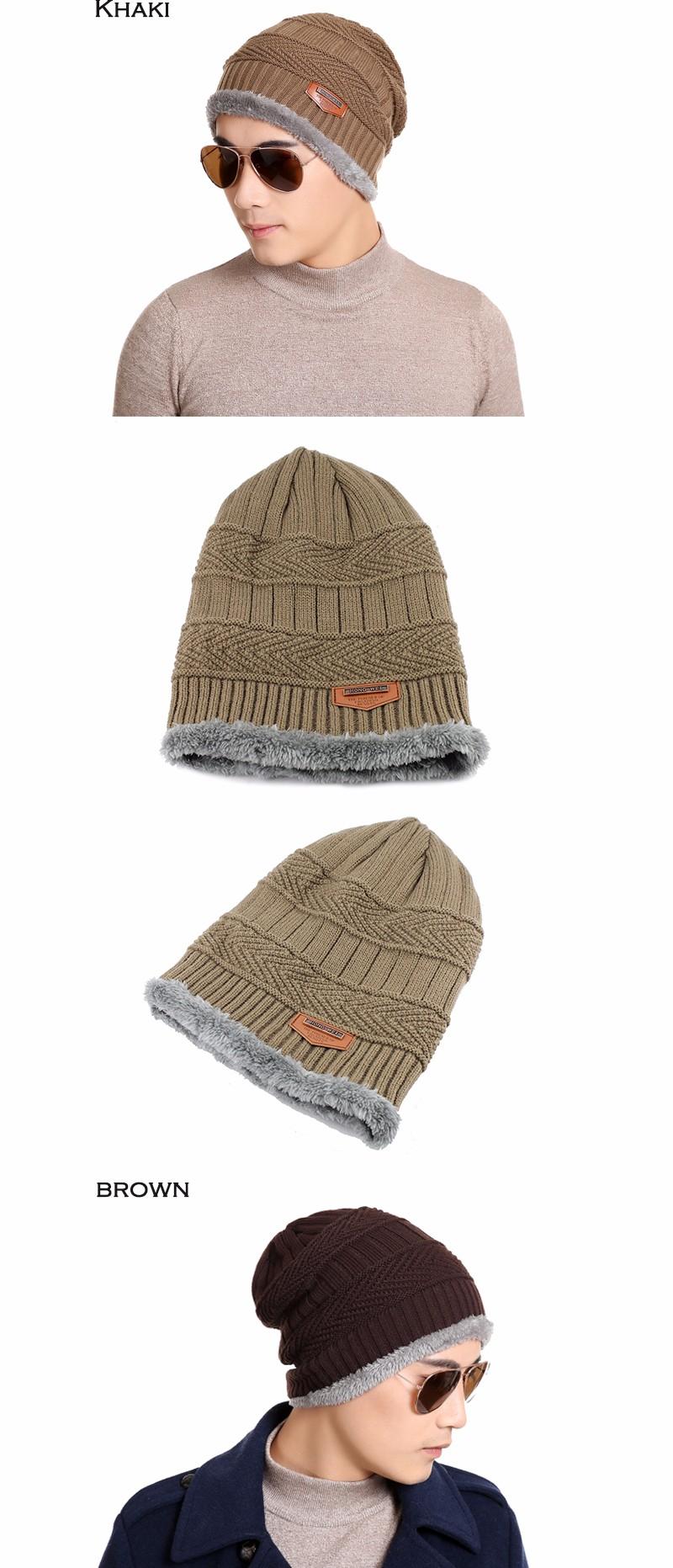 FETSBUY Pure Color Winter Skullies Beanies Hat Knit Winter Hat For Man Warm Hat Velvet Cap Bonnet Toucas Inverno Knitted Hats 18