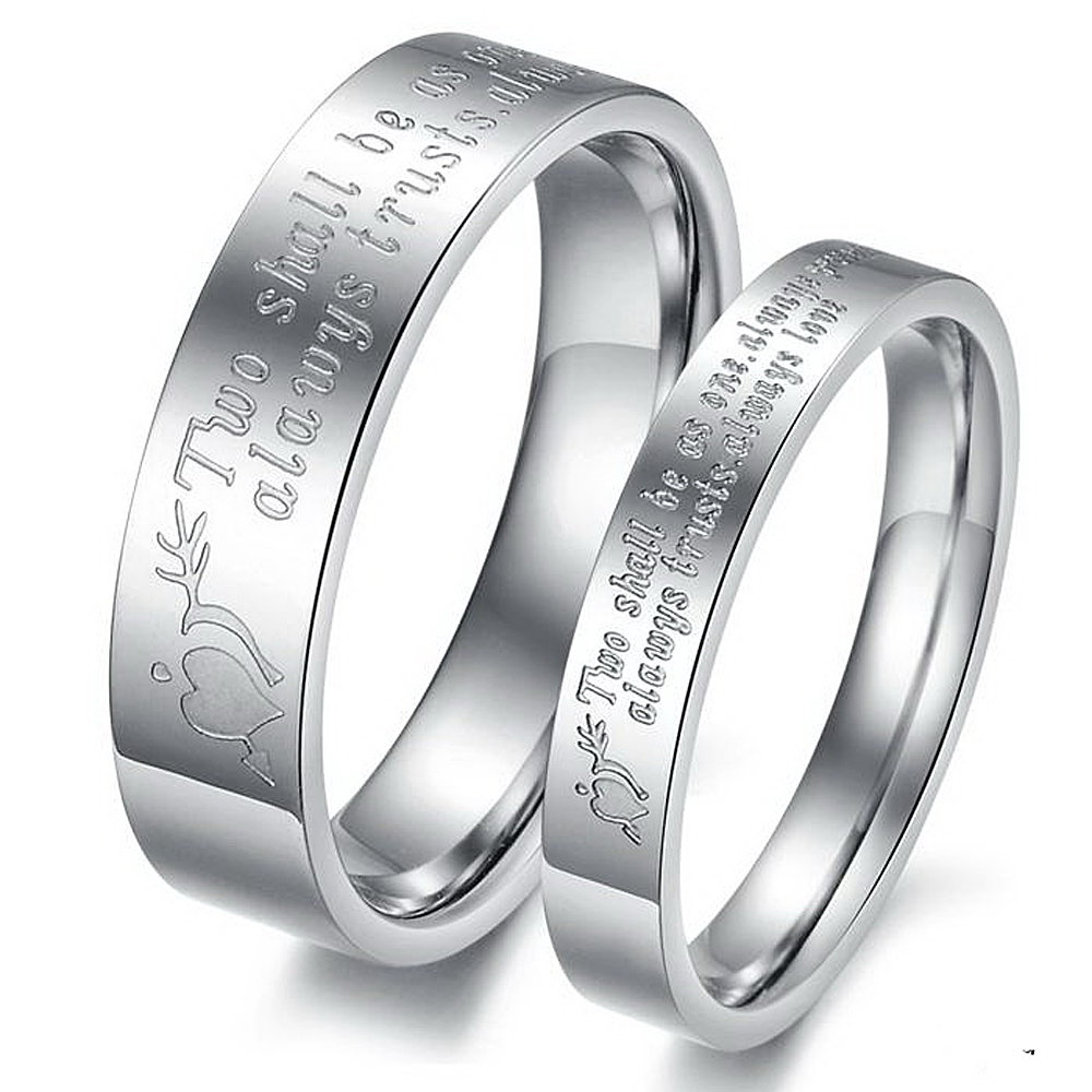 2 Pieces Never Darken Titanium Steel Engraved Love His And Hers Heart  Couple Ring Set Romantic Lovers Wedding Band Cute Jewelry