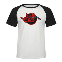 The Amazing Spider-Man Logo T-Shirt Avengers Spiderman T Shirt  Cotton Raglan Tee Shirt Graphic Short-Sleeve Male Funny Tshirt plus raglan sleeve graphic tee