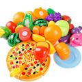Pretend Play Classic Kitchen Toys Cutting DIY Toy Kids Children Fruits Vegetables Plastic Food Toy 24 pcs/ set