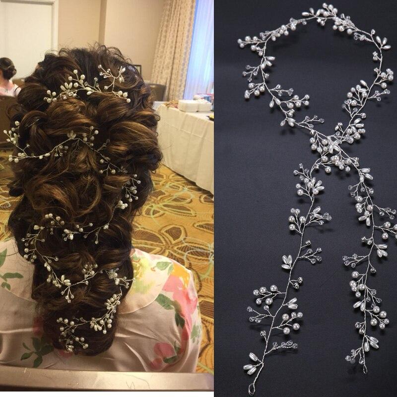 Luxury Crystal wedding hair accessories Headband Simulated Pearl bridal hair vine Hairbands Crown Headpiece Bride Tiara Jewelry