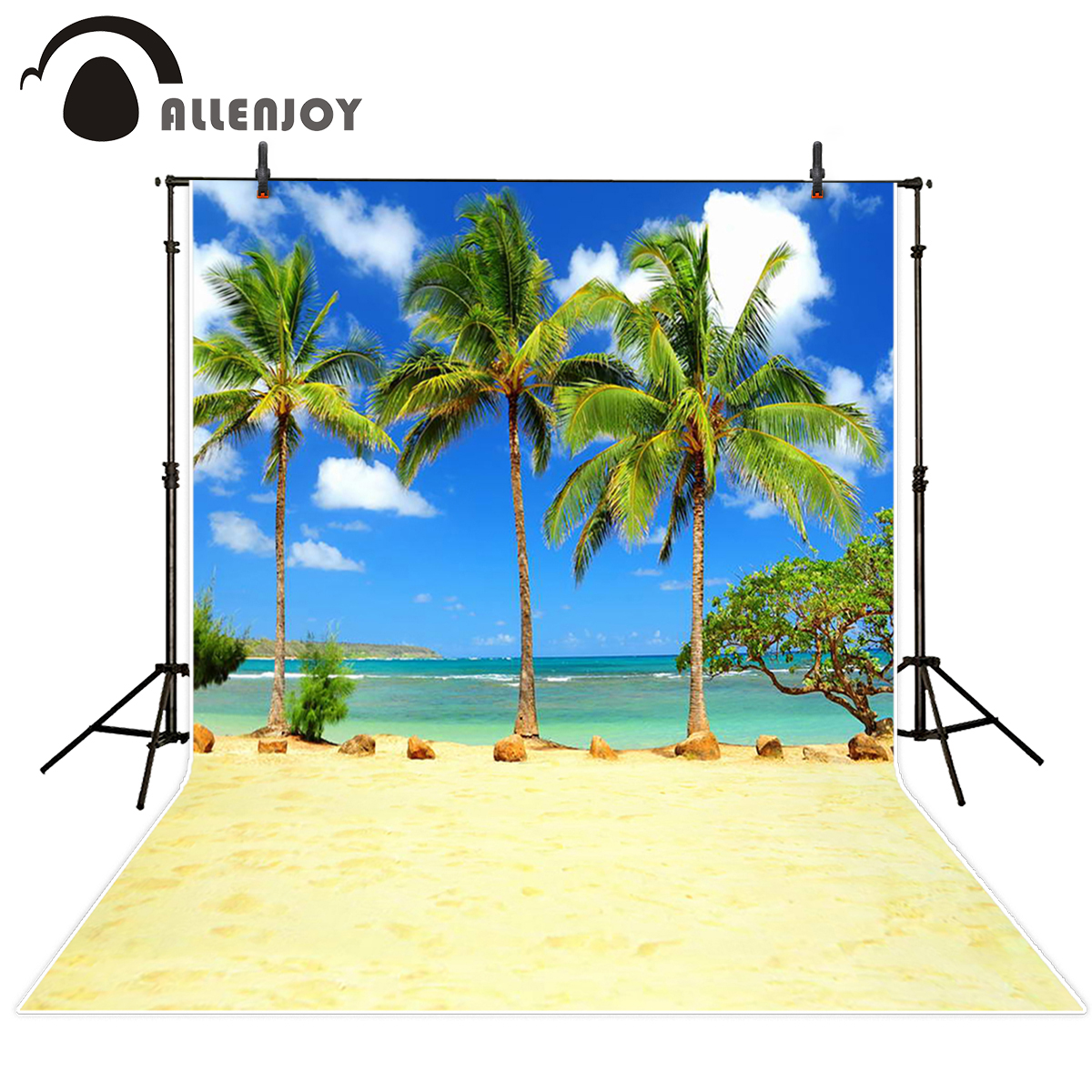 Allenjoy backdrops beach coconut tree waves sky leisure background photography backdrop for photo studio send rolled send rolled sunny sky backdrop vintage white cloud blue sky printed fabric photography background f0150