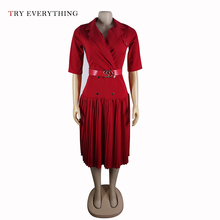 Women Black Office Dress Summer Belt Red A Line Pleated Ladies Half Sleeve V Neck Button Blue Midi 2019