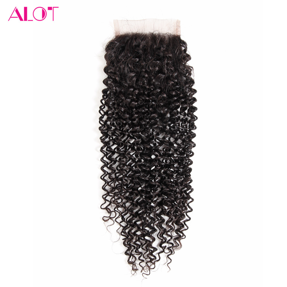ALOT Kinky Curly Human Hair Lace Closure Natural Color 8 to 20 Inch Brazilian Non Remy 4x4 Closure With Baby Hair