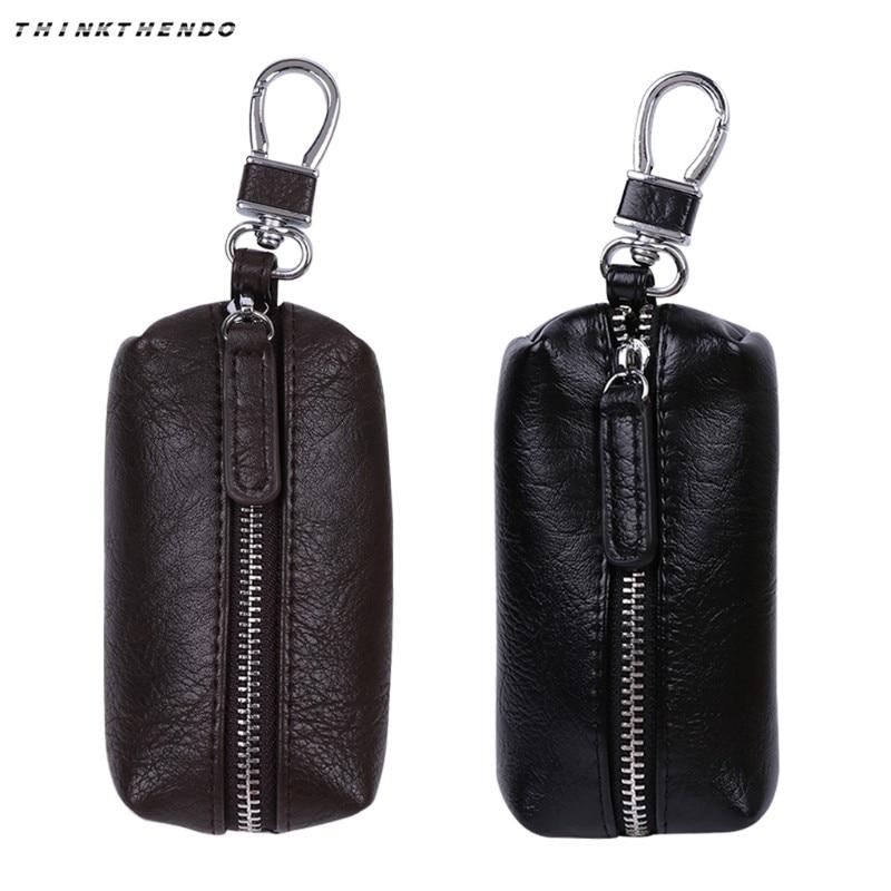 Men PU Leather Key Wallets Zipper Key Purse Unisex Car Key Holders Buckle Key Case Housekeeper Holder