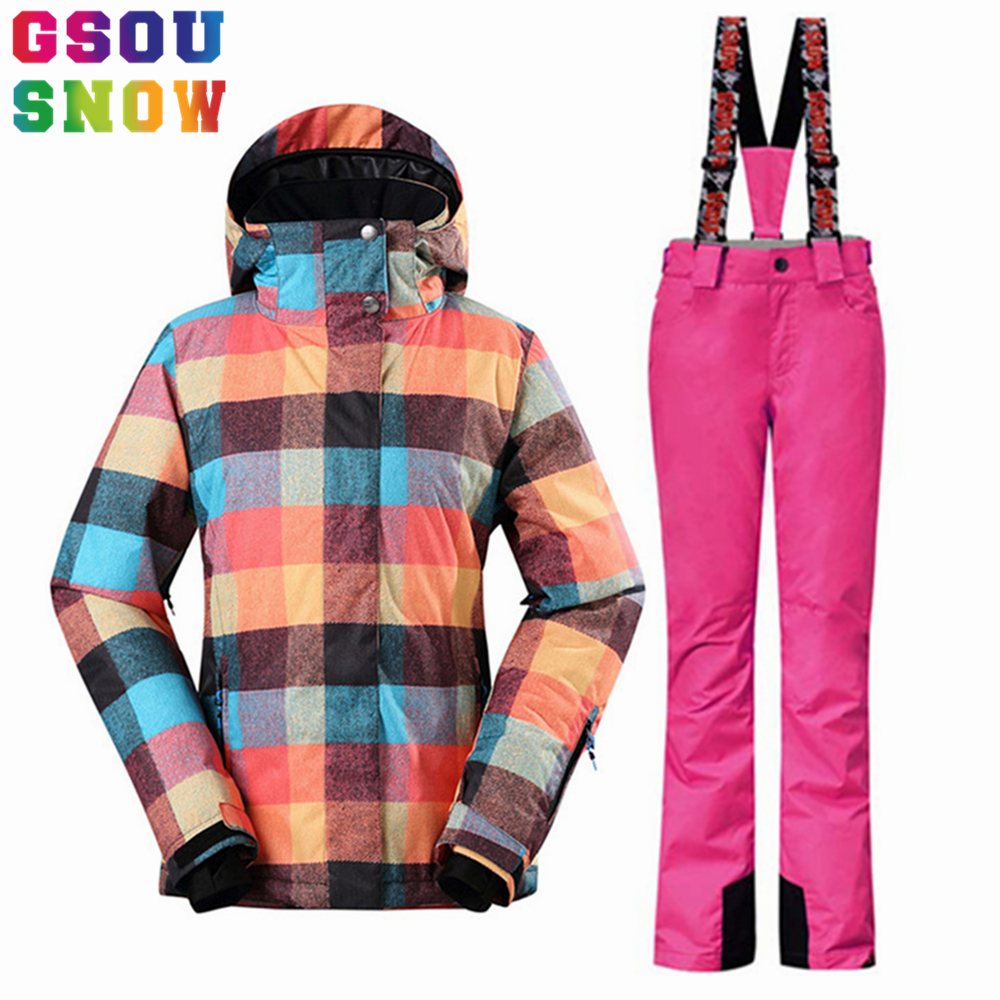 Gsou womens winter suit Waterproof 10K Breathable winter jacket pants women ski suit for mountain skiing and snowboarding Sets gsou womens winter suit waterproof 10k breathable winter jacket pants women ski suit for mountain skiing and snowboarding sets