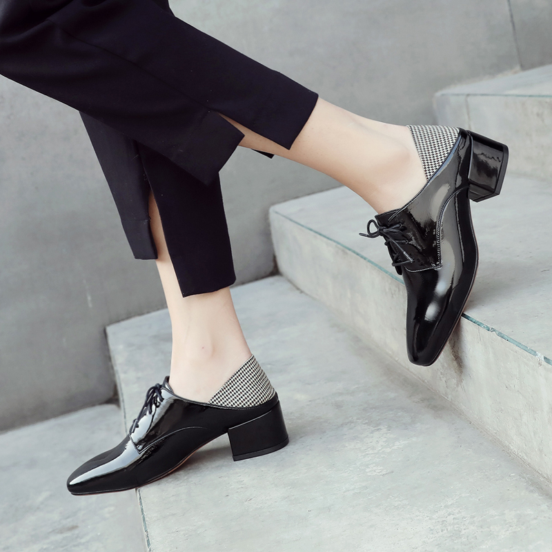 Espadrilles Nouveaux Véritable Marque Chaussures Designer Printemps Loisirs Qualité Des Talon Haute Black up De Med Mules Cuir Femmes Dentelle Verni Oxfords white 0wvNnm8O