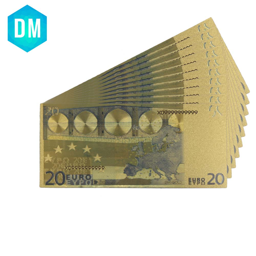 European 24k Gold Banknote Color Note Money Home Decor Decorative Currency Bills 999 9 Gold Foil Fake Money for Wholesale in Gold Banknotes from Home Garden