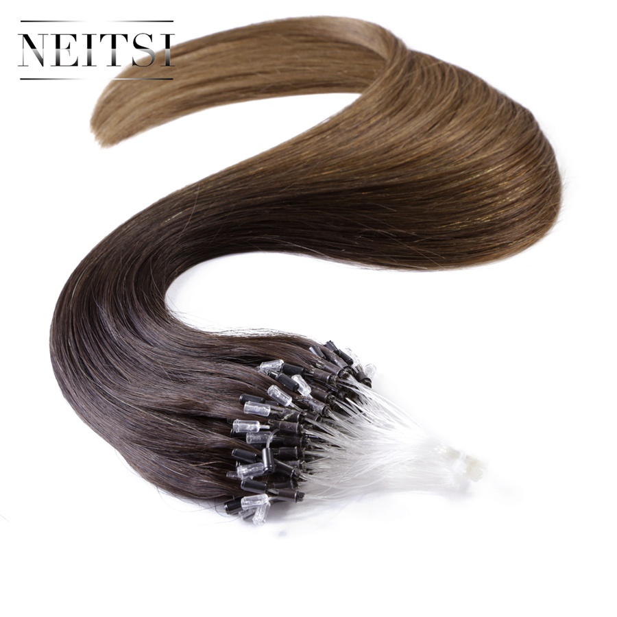 Neitsi Micro Loop Ring Beads Remy Human Hair Extensions Easy Links Ombre Soft Human Hair Extensions