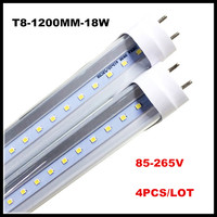 T8 LED 4 фута лампа 18 Вт 22 Вт 4FT труб свет G13 1200 мм Замена люминесцентные приспособление AC85-265V светодиодные трубки молочный прозрачная крышка