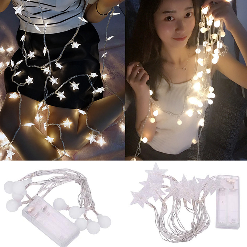 LED Light String Fairy Lights Lamps Five-Pointed Star/Ball Outdoor Decoration