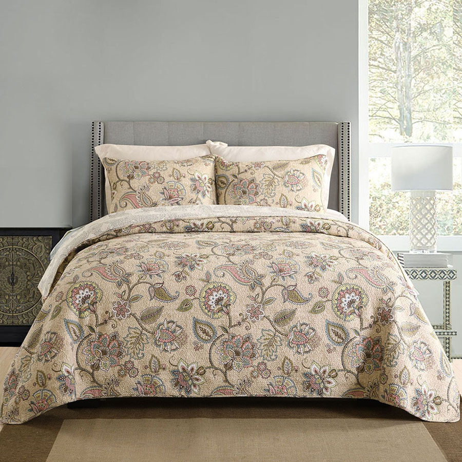 American Paisley Pattern Quilt Set 3PCS Quilted Bedding Cotton Quilts Blanket Bedspread Bed Covers King Size Coverlets AB-side