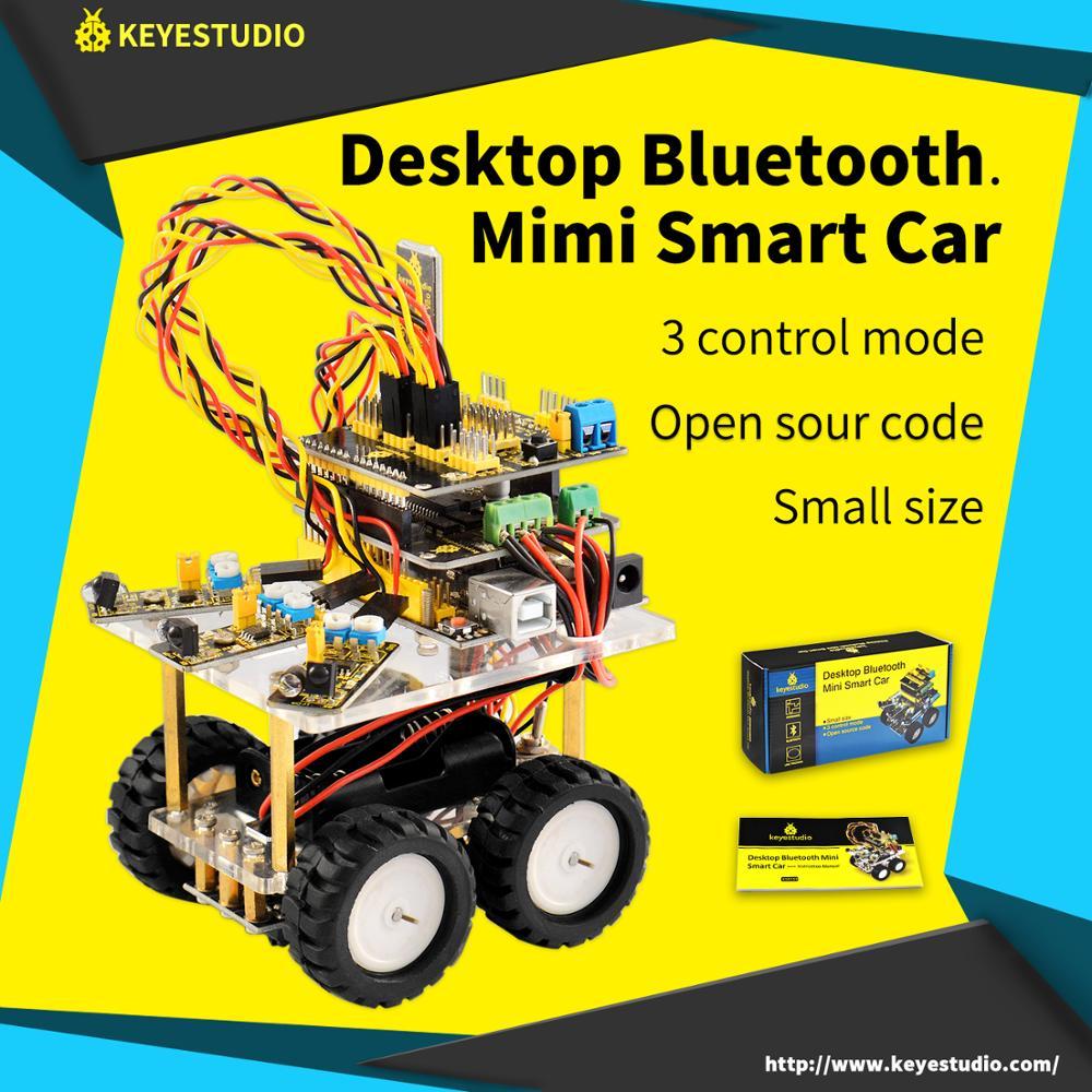 Kit De Coche Robot Inteligente Bluetooth De Escritorio Keyestudio Para Programación De Educación De Robot Arduino + 3 Proyectos + Manual De Usuario + PDF (en Línea)