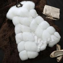 Весте лиса жилеты меховой меха люкс искусственного зимняя теплые куртка жилет