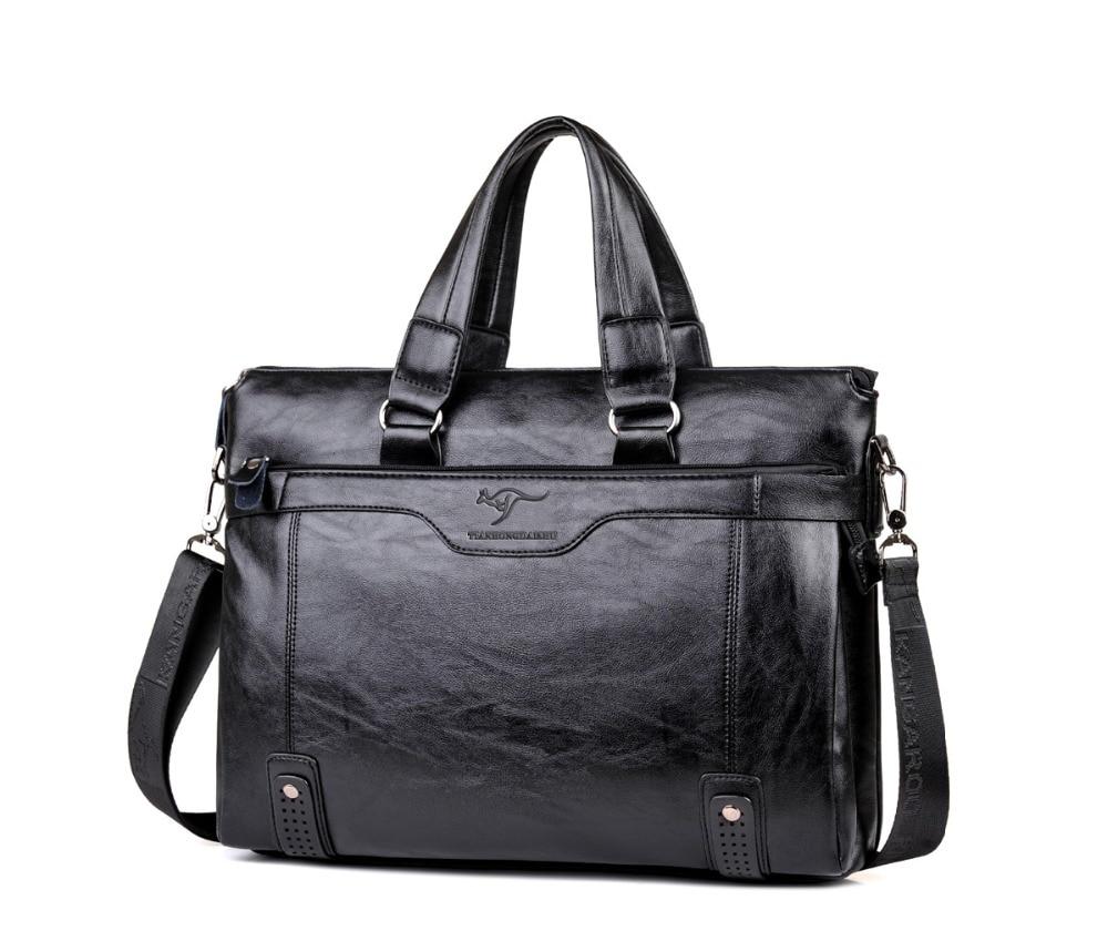 ZYJ Men\`s Business Leather Shoulder Laptop Briefcase Bags Sling Travel Messenger Portfolio Bag Causal Bolsa Lawer Handbag (20)