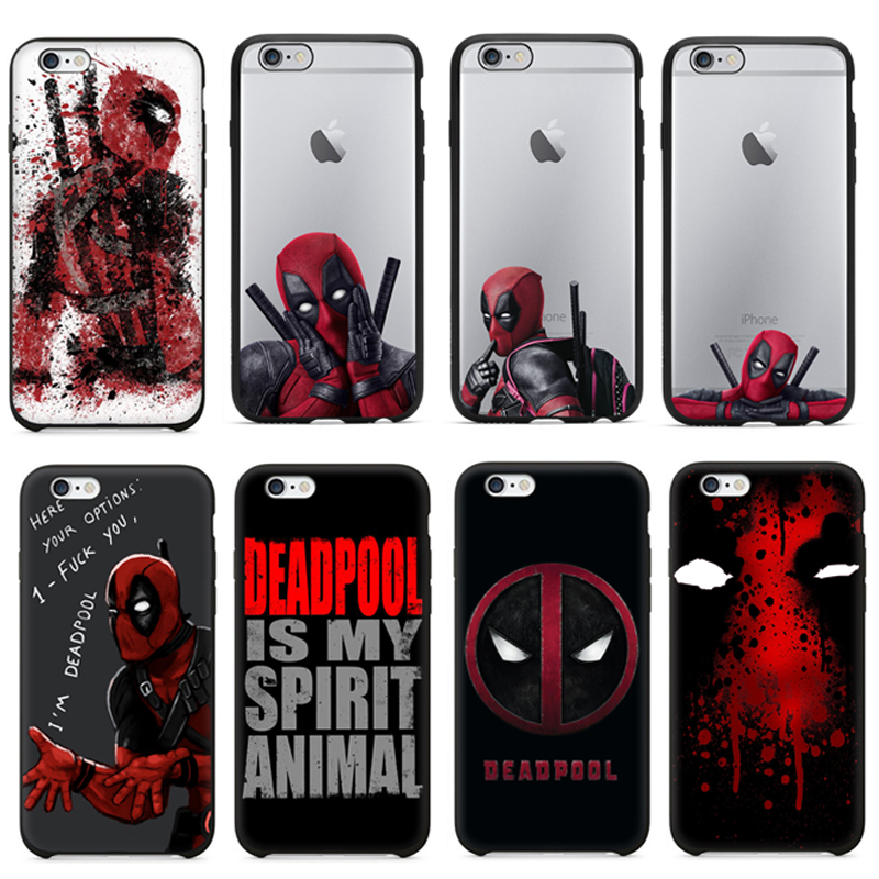 Hot Selling 3D Super Cool Marvel Hero Deadpool Coque Fundas Black Soft Silicone Case For iPhone 5 5S 6 6S 6Plus SE Cover Case