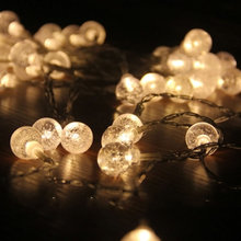 Solar String Lights 20FT 6M Outdoor Waterproof 30 LED Lights Crystal Ball Rope Lights for Christmas,Garden,Yard,Patio,Tree Decor