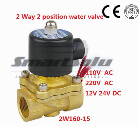Free shipping 2 way 2w series Brass Air gas water solenoid valve 1/2 inch 220V AC Normally close 2W160-15 Wire lead type Alloy