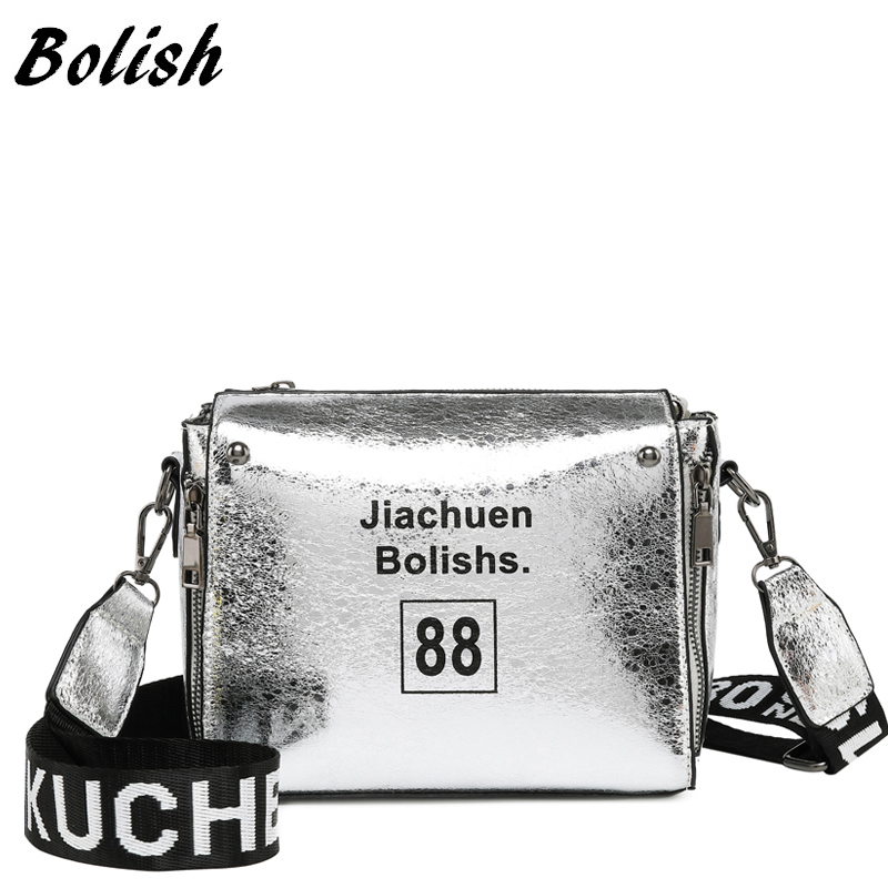 Fashion Letter Small Single Shoulder Slung Handbag Strap PU Reflective Soft Bag Personality Trend