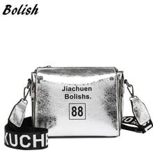 hot deal buy fashion letter small single shoulder slung handbag letter shoulder strap pu reflective soft bag personality trend shoulder bag