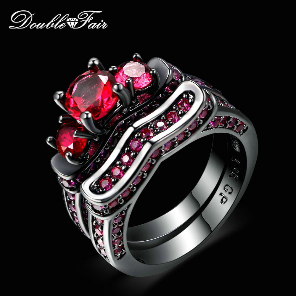 New Cubic Zirconia Red Crystal Rings Sets Black Gold Plated Engagement / Wedding Ring Sets Fashion Brand Women Jewelry DFR620