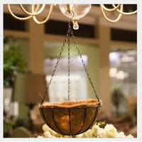 Flower Hanging Basket Wrought Coconut Flowerpot Rattan Decorative Pots Wall Iron Garden Balcony Home Planter 20cm